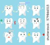 funny cartoon vector teeth set  ... | Shutterstock .eps vector #579866515
