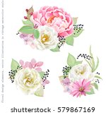 Stock vector floral decorations with flowers pink peony white rose colorful inflorescence hydrangea green 579867169