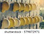 safety helmet hanging on locker ... | Shutterstock . vector #579872971
