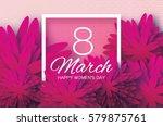 magenta pink paper cut flower.... | Shutterstock .eps vector #579875761