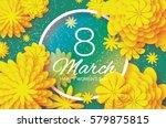 yellow paper cut flower. 8... | Shutterstock .eps vector #579875815