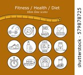 weight loss  diet icons set.... | Shutterstock .eps vector #579878725