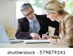 woman meeting notary for advice | Shutterstock . vector #579879241