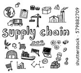 hand draw supply chain business ... | Shutterstock .eps vector #579882709