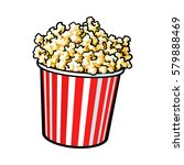 cinema popcorn in a big red and ... | Shutterstock .eps vector #579888469