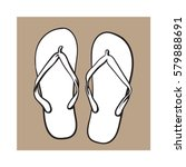 pair of flip flops  summer time ... | Shutterstock .eps vector #579888691