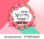 spring season sale offer ... | Shutterstock .eps vector #579893605