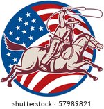 illustration of a cowboy riding ... | Shutterstock . vector #57989821