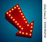 retro neon sign with neon arrow.... | Shutterstock .eps vector #579917455