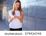 lovely girl young female woman... | Shutterstock . vector #579924745