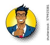 wow pop art face. young... | Shutterstock .eps vector #579925381