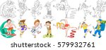 cartoon children set.... | Shutterstock .eps vector #579932761