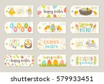 set of easter gift tags and... | Shutterstock .eps vector #579933451