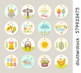 set of easter gift tags and... | Shutterstock .eps vector #579933475