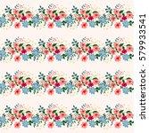 vintage feedsack pattern in... | Shutterstock .eps vector #579933541