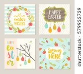 set of easter greeting with... | Shutterstock .eps vector #579933739