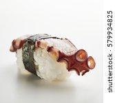 Small photo of Japanese Sushi - Tako Nigiri Sushi (Octopus Sushi) on White Background