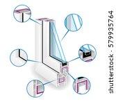 plastic window frame profile.... | Shutterstock .eps vector #579935764