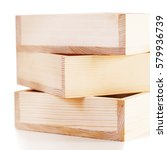 Small photo of three accurate natural wooden boxes on white background