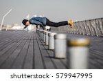 asian smiling man make the... | Shutterstock . vector #579947995