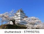 aizuwakamatsu castle and cherry ... | Shutterstock . vector #579950701