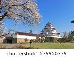 aizuwakamatsu castle and cherry ... | Shutterstock . vector #579950779