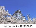 aizuwakamatsu castle and cherry ... | Shutterstock . vector #579950839