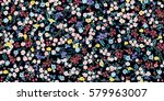 Stock vector simple cute pattern in small scale flowers millefleurs liberty style floral seamless meadow 579963007