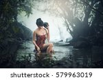 asian sexy woman bathing in... | Shutterstock . vector #579963019