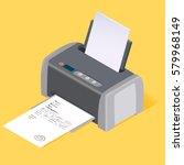 printer flat style isometric.... | Shutterstock .eps vector #579968149