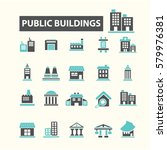 public buildings icons | Shutterstock .eps vector #579976381