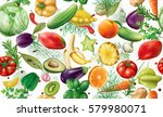 various vegetables fruits and... | Shutterstock .eps vector #579980071