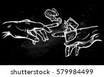 god and adams hands holding a... | Shutterstock .eps vector #579984499