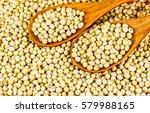 Soy Bean In Wood Spoon Full On...
