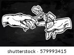 god and adams hands holding a... | Shutterstock .eps vector #579993415
