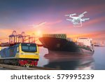 logistics and transportation of ... | Shutterstock . vector #579995239