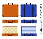set of old suitcases. brown and ... | Shutterstock .eps vector #579995311