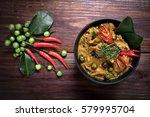 spicy chicken curry on dark...   Shutterstock . vector #579995704