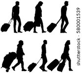 set black silhouettes travelers ... | Shutterstock .eps vector #580001539