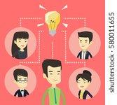 asian businessmen working on... | Shutterstock .eps vector #580011655