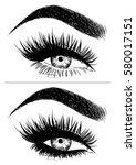 eye makeup with false eyelashes | Shutterstock .eps vector #580017151