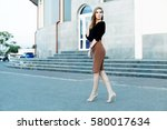 fashionable female model in... | Shutterstock . vector #580017634