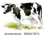 cow. farm animals watercolor... | Shutterstock . vector #580017871