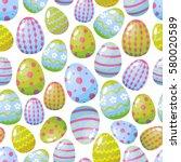 seamless pattern easter eggs... | Shutterstock .eps vector #580020589