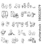 funny doodle people icons.... | Shutterstock .eps vector #580023079