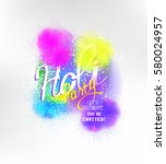 happy holi background with... | Shutterstock .eps vector #580024957