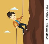 asian business woman climbing... | Shutterstock .eps vector #580026169