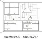 kitchen furniture. sketch in... | Shutterstock .eps vector #580026997