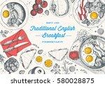 english breakfast top view... | Shutterstock .eps vector #580028875
