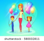 woman with daughter and son... | Shutterstock .eps vector #580032811